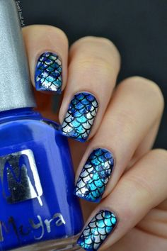 Mermaid blue and silver nails #mermaidnails #scalenails