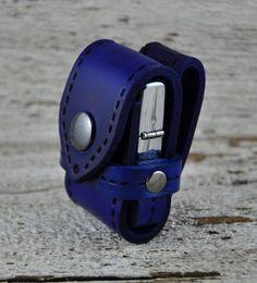 Zippo Lighter Denim Blue Leather Belt Case