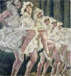 High-Steppers (1938).Walter Richard Sickert (British, 1860-1942). Oil on canvas. National Galleries Scotland.  The Plaza Tiller Girls, known for their high-kicking long legs, worked at the Plaza Cinema, London, which featured cine-variety - films alternating with live music and performance. Sickert worked directly from a photograph published in the London Evening News, originally a film still recording the Tiller Girls' appearance in the film 'A Little Bit of Fluff.'