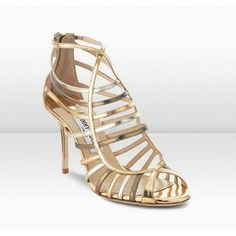 Jimmy Choo Vicky 85mm Metallic Mirror Leather Strappy Sandals