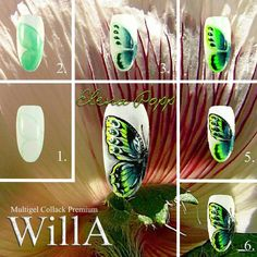 Nails University. Ногти и Маникюр пошагово. Butterfly Nail Art, Flower Nail Art, New Nail Art, Easy Nail Art, Black Nail Designs, Nail Art Designs, Purple Nail Art, Animal Nail Art, Nail Tutorials