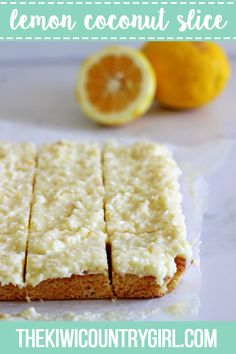 Lemon Coconut Slice - the perfect spring treat! A simple baked base topped with lemony coconut icing - keep it in the fridge for maximum deliciousness! Peanut Butter Desserts, No Bake Desserts, Dessert Recipes, Bar Recipes, Lemon Recipes, Baking Recipes, Baking Ideas, Lemon Coconut Slice, Coconut Icing