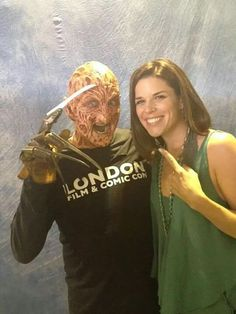 I'm your boyfriend now, Sidney! Robert Englund and Neve Campbell at London Film & Comic Con, Sun 19th July 2015.