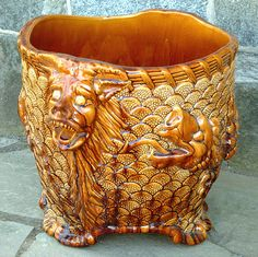 Antique European Majolica Pottery Tree Planter