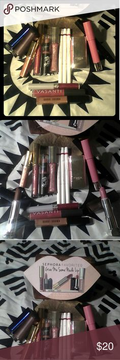 Lipstick lovers bundle!bobby brown sparkle lipglos Including all finishes matte,nudes,glosses, bobby brown sparkle gloss,estee  lauder sparkle gloss,3 American beauty for target lipliners,Maybelline grey over it a brown matte,coral matte with a little sparkle,vasanti supermom power oil lipgloss, 2 loreal infallible glosses azalea and blush,covergirl outlast raspberry sparkle,Revlon balm stain in honey,flirt!glamourazzi extreme lip lacquer  from kohls in standout,true matte lipstick in…