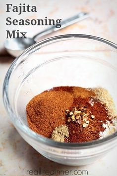How to Make Your Own Fajita Seasoning Mix:  3 T cornstarch,  2 T chili powder,  1 T salt,  1 T paprika,  1 T sugar,  2-1/2 tsp chicken bouillon,  1-1/2 tsp onion powder,  ½ tsp garlic powder,  ½ tsp smoked paprika,  ½ tsp cumin,  ⅛ tsp crushed red pepper flakes,  Pinch of cayenne pepper (optional),  Use three tablespoons per 1 lb of meat or veggies. Website has add'l tips.