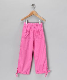 Take a look at this Hot Pink Linen Tie-Hem Pants - Toddler & Girls by Coradorables on #zulily today!