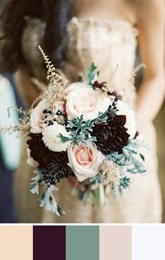 5 Nude Color Palettes for Your Wedding Day. Love the dark flowers #fallwedding #bouquet