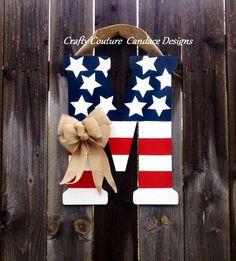 Patriotic Monogram Door Hanger with Burlap Bow - 35 Creative DIY Letters in Life <3 <3