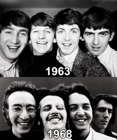 John Lennon, Ringo Starr, Paul McCartney, and George Harrison. So much can change in five years. Foto Beatles, Beatles Love, Les Beatles, Beatles Photos, Beatles Guitar, Beatles Trivia, Beatles Poster, Ringo Starr, Paul Mccartney