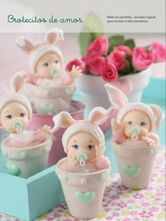 Cute Inspiration - buy or try Baby Shower Cupcakes, Shower Cakes, Baby Shower Parties, Fondant Figures, Clay Figures, Fimo Clay, Polymer Clay Crafts, Clay Baby, Clay Dolls
