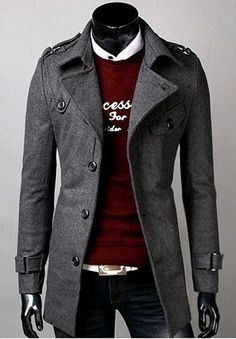 Every guy needs a decent looking peacoat for fall and winter weather. Goes great with everything.