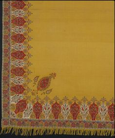 1825-1835, United Kingdom - Shawl - Woven wool with cotton and silk