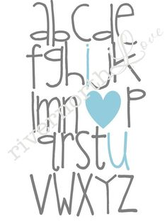 Alphabet I Love You,  nursery art, nursery wall art, i love you nursery