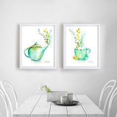 Tea Print Set Set of 2 Prints Tea Art Tea Wall art by AngyPaints