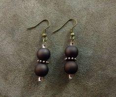 Bronzed-Plated-Brown-Plastic-Beaded-Hook-Earrings-US-Seller-Fast-Shipping #bronze #beaded #earrings