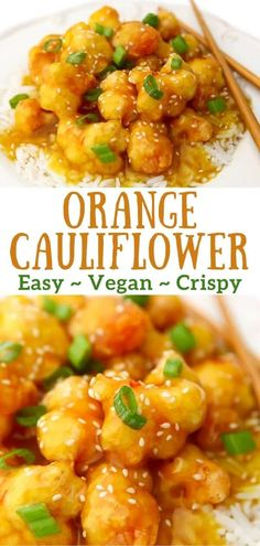This easy crispy orange cauliflower is a vegan version of a classic orange chicken dish that you may find at your favorite Chinese restaurant. With a sweet and sticky orange sauce glazing fried cauliflower nuggets, your whole family will go crazy for this meal! #cauliflower #vegan #gluten-free #thehiddenveggies Best Vegetarian Recipes, Vegan Dinner Recipes, Vegetarian Recipes Dinner, Vegan Dinners, Lunch Recipes, Asian Recipes, Healthy Recipes, Japanese Recipes, Thai Recipes
