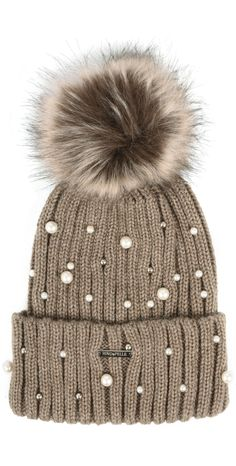 49238dd0a64 Shop the RINO AND PELLE Bobble Hats with Pearls in Taupe online at Gemini  Woman.