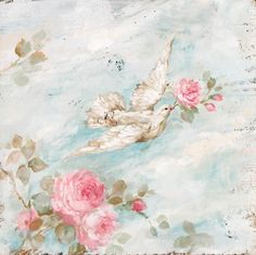 """Romantic Shabby Chic """"Peace"""" Dove and Roses by Debi Coules"""