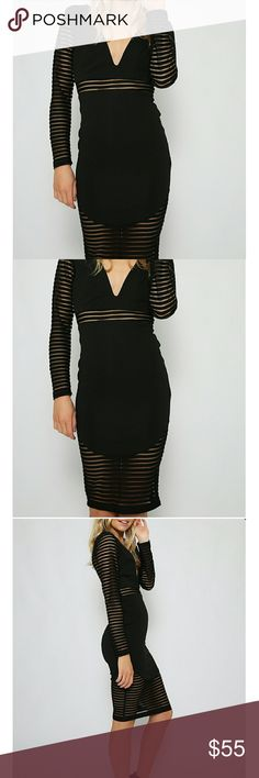 Classy Black Dress Gorgeous and flattering black dress for fall & winter. Sheer cut outs for accents. Knee length. Partly open back. Dresses