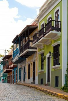 A row of colorful pastel painted buildings in Old San Juan Puerto Rico.