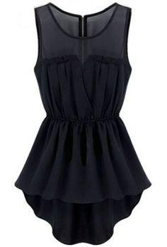 Black Sleeveless Back Zipper Bandeau High Low Dress pictures