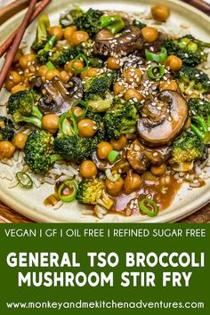 This saucy and delicious General Tso's Broccoli Mushroom Stir Fry is so easy to prepare and makes for a perfectly healthy, quick weeknight dinner. Blue Zones Recipes, Zone Recipes, Broccoli, Whole Food Recipes, Dinner Recipes, Kid Recipes, Cooking Recipes, Mushroom Stir Fry, Vegetarian Food