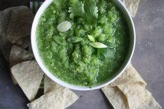 Salsa verde as a dip or to go in Pork Chili Verde makes cups 3 cups green tomatoes, cored and chopped 2 cups tomatillos, chopped 1 jalapeno, chopped (most of seeds removed) 4 garlic cloves, peeled ½ yellow onion ½ cup cilantro Kosher salt to taste Allergy Free Recipes, Healthy Recipes, Healthy Snacks, Sauces, Appetizer Recipes, Appetizers, Raw Vegetables, Veggies, Sauce For Chicken