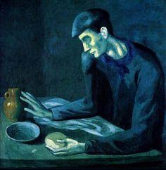 맹인의식사 - 파블로 피카소(1903)  어두운 청색조의 색감으로 어떠한 온기도 느낄 수 없고 맹인의 표정과 손동작에서 깊은 절망감이 느껴진다.   개인적으로 소외계층들이 느끼는 단순한 생존에 대한 두려움과 쓸쓸함을 잘 표현했다고 생각한다.