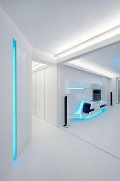 small apartment renovation stripes futuristic integrated led