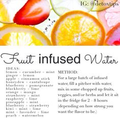 Detox Water // Spa Water // Fruit Infused Water Recipe Sheet from the team at Detox Tips. Follow @Maddie Duane on Instagram for more.