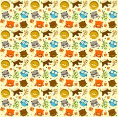 woodcritters_print_01 fabric by waikai on Spoonflower - custom fabric    ahhhh! so cute. Little fat animals. Love it.
