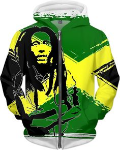 Feeling sunny Rasta, green - jamaica flag, reggae music hoodie design, all-over-print clothing - for more art and design be sure to visit www.casemiroarts.com, item printed by RageOn at www.rageon.com/a/users/casemiroarts - also available at www.casemiroarts.com - This product is hand made and made on-demand. Expect delivery (aproximate time frames) to US in 11-23 business days (international 14-33 business days). #hoodies #clothing #style #fashion