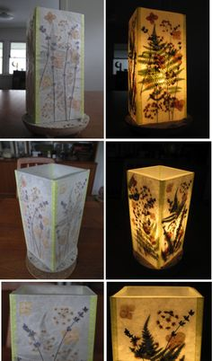 DIY Pressed flower, wax paper luminaria and IKEA lamp makeover.  How To can be found here: http://apracticalwedding.com/2011/10/how-to-luminaria-with-kelly-wilkinson/    TIP: You can't overload your wax paper with pressed flowers, so to get the density as seen here, you will have to iron together three, wax paper flower layers per side.