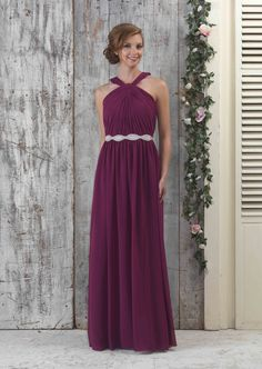 EN335 Chiffon bridesmaids Halter neck full length gown with pleated front with LBE333 Belt