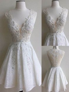 Elegant Deep V-neck Homecoming Dresses,Illusion Back Knee-Length Ivory Lace Homecoming Dresses with Appliques Beading