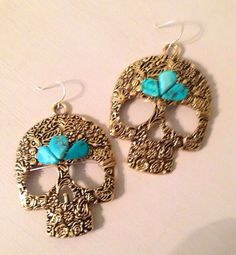 Brass and Turquoise Skull Earrings by christineleightexas on Etsy