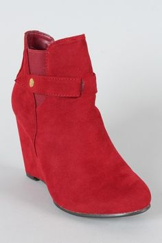 red wedge bootie