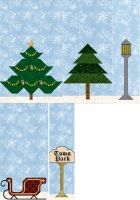 Christmas trees, pine trees, street lights, park sign and sleigh