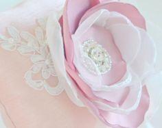 wedding ring pillow powder color silk ivory lace pearl organza ribbon powder color satin organza flower rhinestone swarovski embellishment
