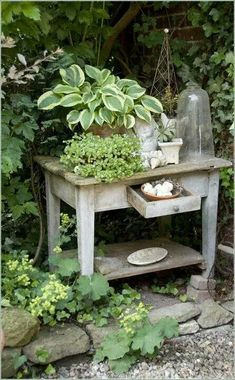Life With Your Own Flower Garden - Beautiful, Easy For my own Pleasure. Hosta l brocante l tafeltje l tuin ideeën l garden ideas l gartenFor my own Pleasure. Hosta l brocante l tafeltje l tuin ideeën l garden ideas l garten Rustic Gardens, Outdoor Gardens, Vintage Garden Decor, Vintage Gardening, Garden Cottage, Garden Junk, Diy Garden, Garden Table, Small Gardens