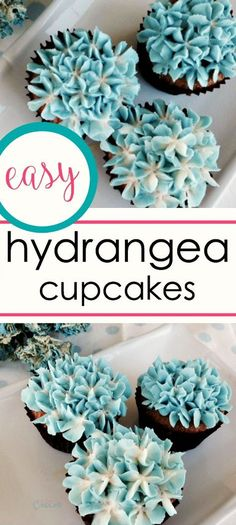 How to make Hydrangea cupcakes that look like real flowers - Buttercream Flowers - How to make hydrangea cupcakes : Today I am showing you how to make Hydrangea cupcakes that look li - Hydrangea Cupcakes, Floral Cupcakes, Hydrangea Flower, Strawberry Cupcakes, Hydrangeas, Cupcakes Amor, Cute Cupcakes, Wedding Cupcakes, Birthday Cupcakes