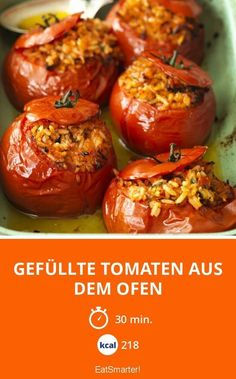 Stuffed tomatoes from the oven- Gefüllte Tomaten aus dem Ofen Stuffed tomatoes from the oven – smarter – Calories: 218 Kcal – Time: 30 min. Veggie Recipes, Vegetarian Recipes, Chicken Recipes, Dinner Recipes, Healthy Recipes, Cooking Dishes, Cooking Recipes, Food Garnishes, Dinner Sets