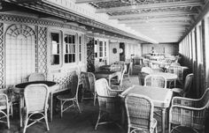 Larger image of Cafe` Parisien, a luxury dining area for 1st Class passengers aboard the Titanic, taken in Belfast, March 1912