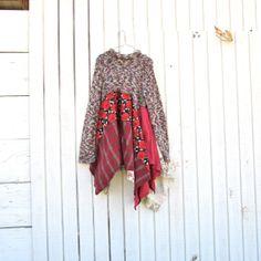 boho lagenlook romantic dress / Upcycled clothing / Patchwork Dress / Funky Tunic Dress / Eco / Artsy by CreoleSha