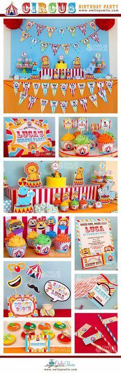 Vintage circo cumpleaños fiesta paquete imprimible por OwliePowlie