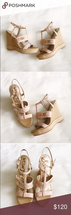 """☀️️Bye Summer Sale☀️️Sam Edelman Peach Wedges NWT & box. Gorgeous Sam Edelman wedges in a peach colored leather. Adjustable ankle strap. Measurements: heel height 4.5"""", platform height 1.25"""". No trades/modeling! Sam Edelman Shoes Wedges"""