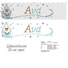 Cross stitch baby name Ava free pattern with Olaf the snowman from Disney Frozen