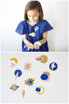 DIY Modern Paper and Wood Brooches. These would be lovely for Mother's Day! | Contributed by La Maison de Loulou