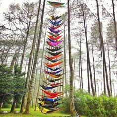 The World's Highest Hammock Tower. Congrats for new world record by Hammockers Indonesia ! -@raisarhmh  Tag your friends if you really want to go there with them  .  Lokasi/location: Perkemahan Cikole, Bandung, Jawa Barat .  Credits to: @raisarhmh  . Go check it out  .  #Bandungvellers #IT_JawaBarat